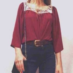 Flying Tomato Boho Crop Red Embroidered Neck M